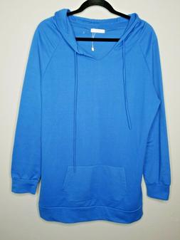 J.Tomson Womens Activewear Pull Over Hoodie Sweatshirt Blue