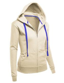 J.TOMSON Womens Basic Long Sleeve Zip-Up Hoodie OATMEAL MEDI