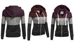 Doublju Junior's Color-Block Zip-Up Hoodie Plum Large