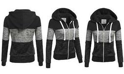 Doublju Junior Women's Color Block Zip-Up Hoodie -Black - Si