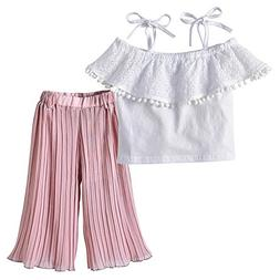 XUANOU Kids Sling Top Pleated Pants Two Piece Set Toddler Ba
