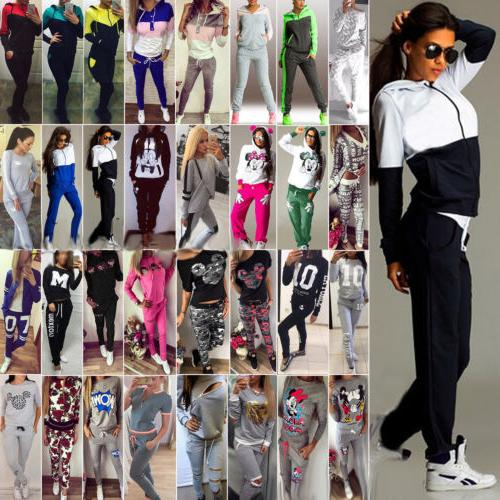 2Pcs Women's Tracksuit Hoodie Sweatshirt Tops Pants Set Casu