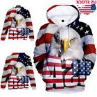 American Flag Eagle Animal 3D Graphic Print Hoodie Womens Me