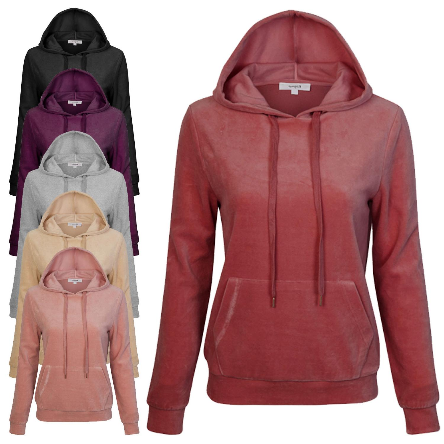 *CLEARANCE* KOGMO Women's Velvet Hoodie Pullover Sweater wit