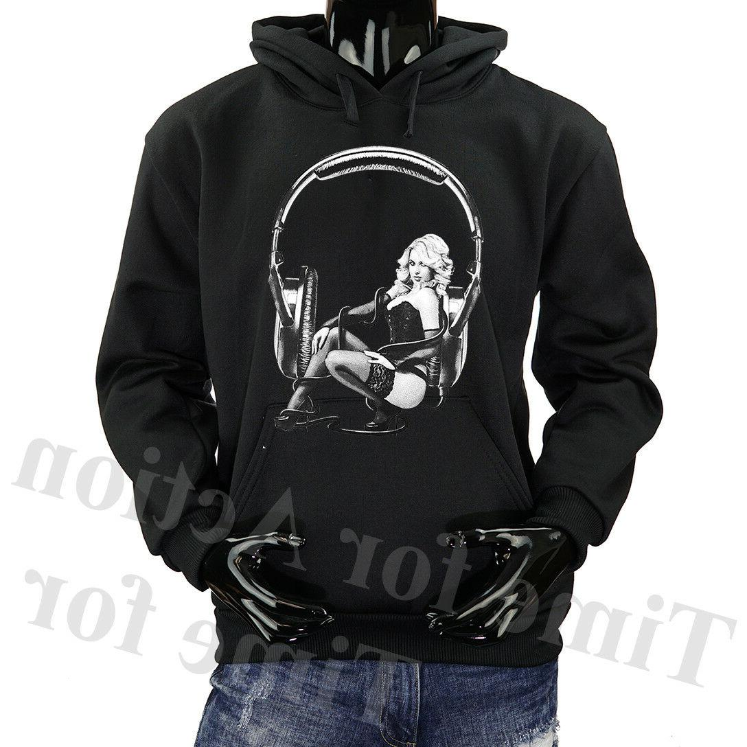 DJ Headphone Sexy Women Music Party Fleece Pullover Graphic