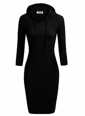 DJT Pocket Knee Length Causal Hoodie Dress