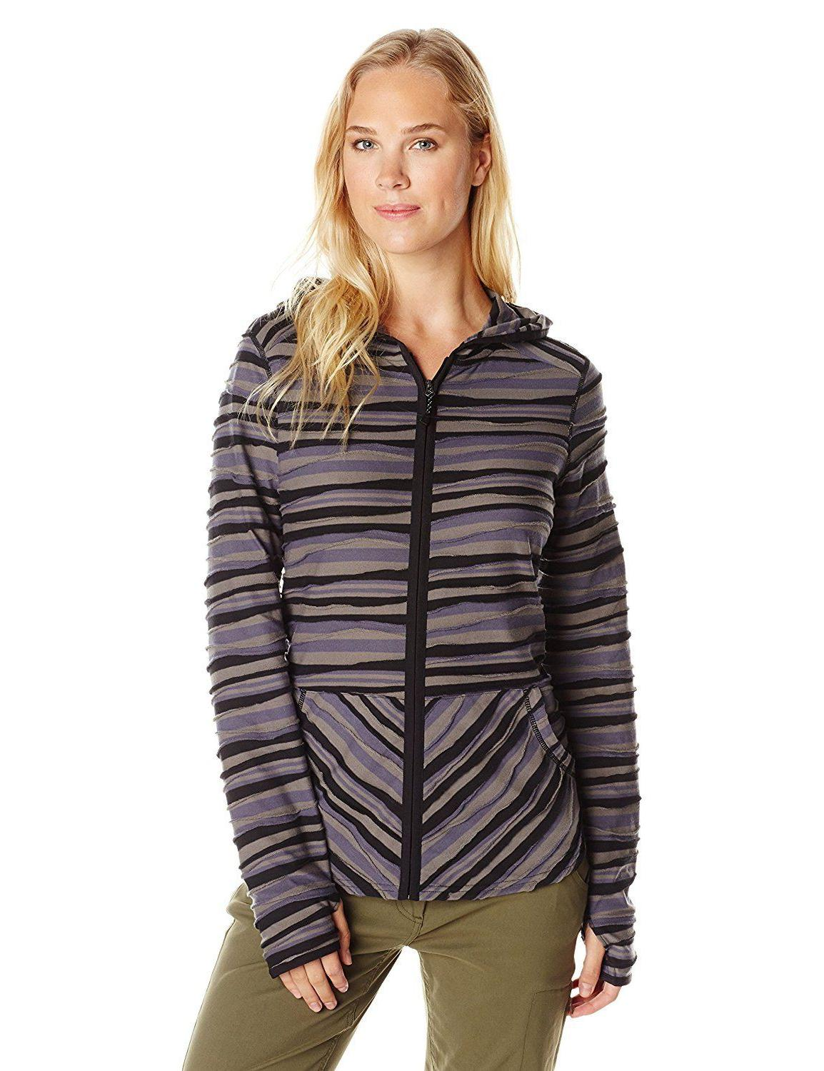 ExOfficio - Women's L - NWT$75 - Black/Gray Striped UPF Tech