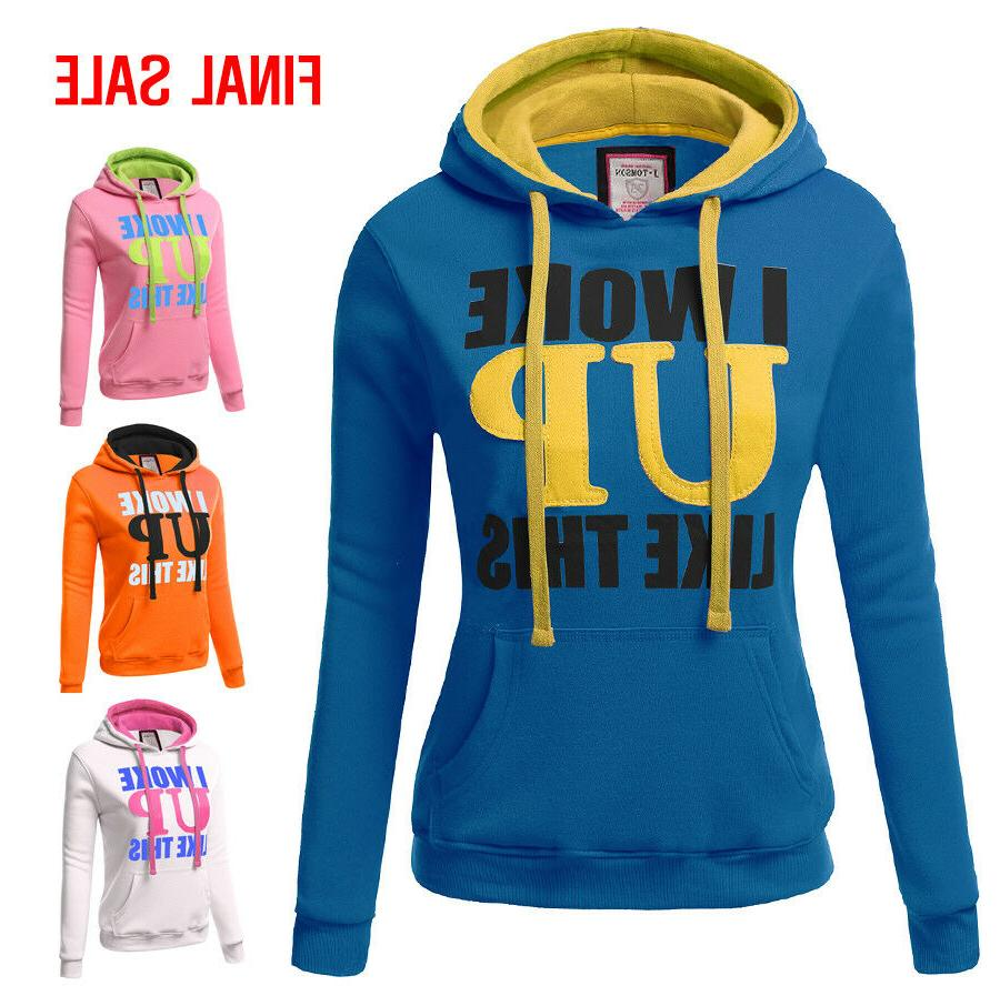 Doublju Womens Long Sleeve Graphic Pullover Hoodie Sweatshir