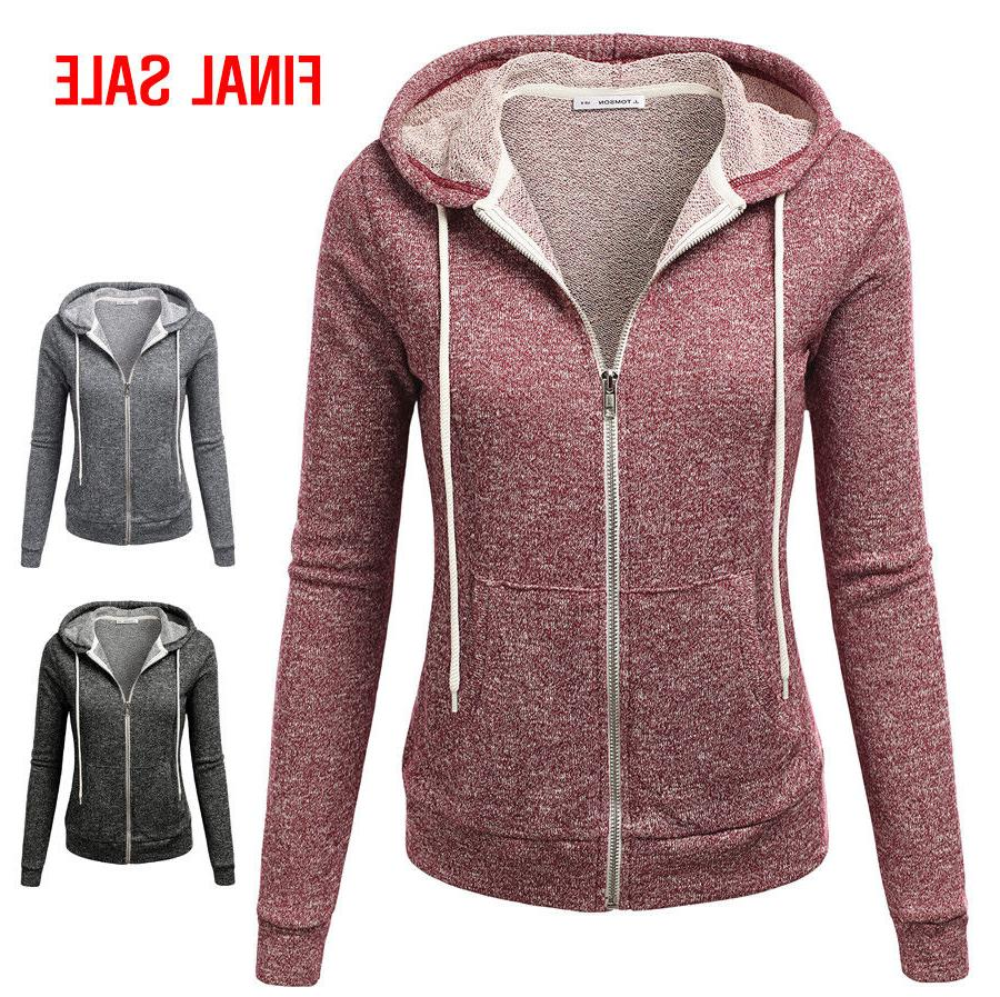 Doublju Womens Long Sleeve Heather Zip-Up Hoodie Sweater Jac