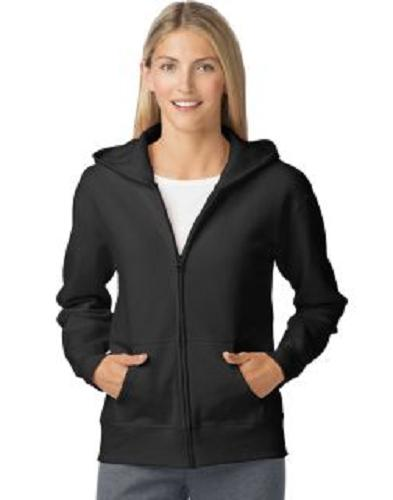 HANES WOMEN'S FULL-ZIP HOODIE SWEATSHIRT 2-POCKETS BLACK SMA