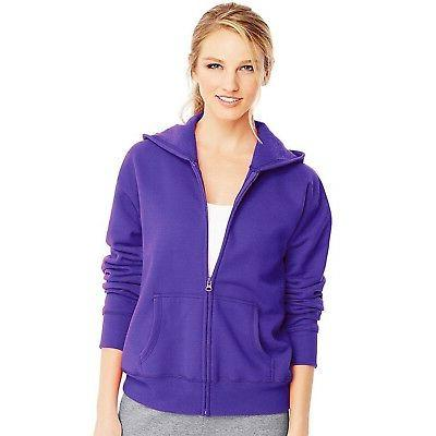Hanes Women's Full Zipper EcoSmart Fleece Hoodie Jacket - Pe