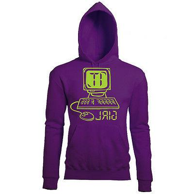 IT GIRL WOMENS PRINTED FUN NOVELTY COMPUTER GEEK HOODIE
