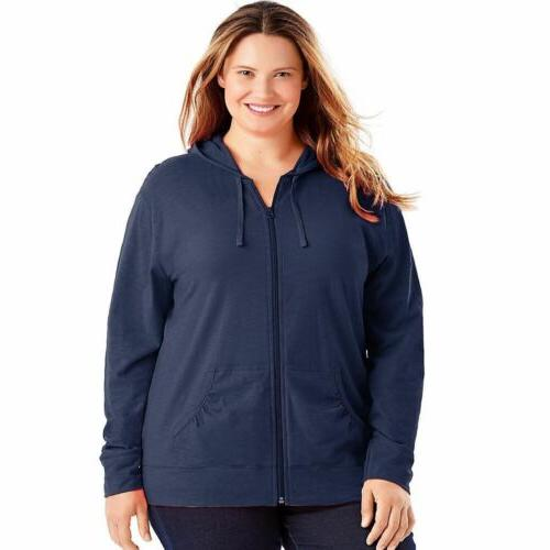Just My Size Women's Slub-Cotton Full-Zip Hoodie - 8 COLOR C