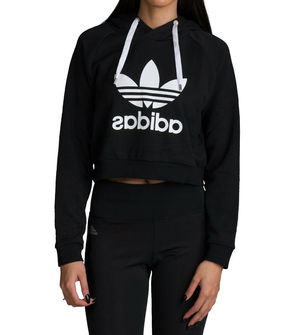 NEW WOMEN'S ADIDAS ORIGINALS CROP HOODIE   BLACK//WHITE