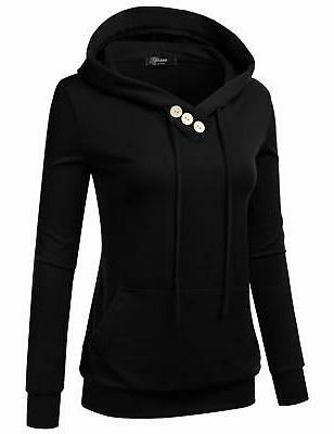 NINEXIS Women's Long Button Pullover Hoodie