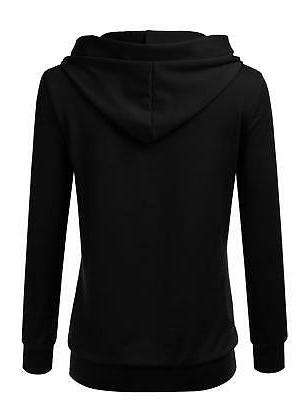 NINEXIS Long Button V-Neck Sweatshirts Pullover Hoodie