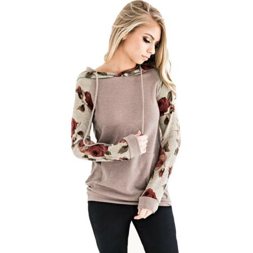 New Floral Hoodie Hooded Sweater Casual Sweatshirt Pullover US