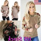 New Women Floral Hoodie Hooded Sweater Long Sleeve Casual Sw