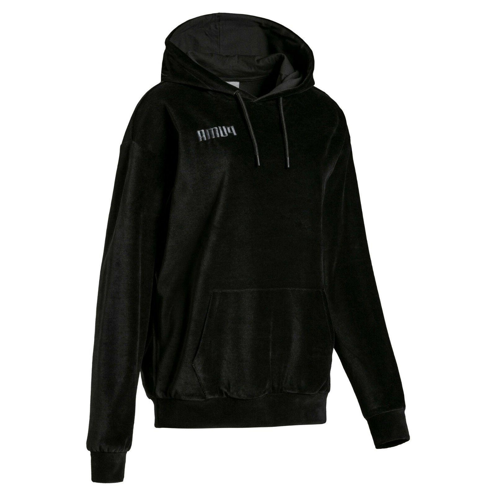 PUMA WOMEN'S HOODIE VELVET ALL BLACK PUMA LOGO CASUAL FORMAL