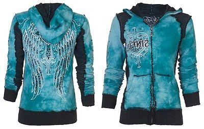 Sinful AFFLICTION Women Hoodie Sweatshirt ZIP UP Jacket BLIT