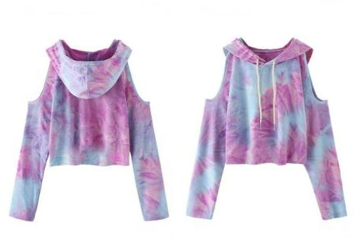 SweatyRocks Women's Cold Shoulder Tie Dye Pullover Hoodie Cr