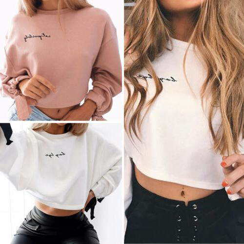 US Women Bowknot Long Sleeve Sweater Pullover Crop Tops Hood