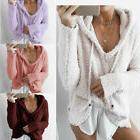 US Women Casual Mohair Hooded Hoodie Sweater Pullover Sweats