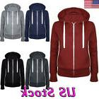 US Women Fleece Zip Up Hoodie Pullover Jacket Sweatshirt Hoo