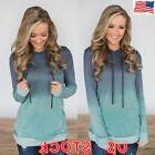 US Women Long Sleeve Casual Hoodie Sweatshirt Pullover Tops