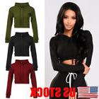 US Women's Hoodie Jumper Sweatshirt Casual Crop Top Coat Spo