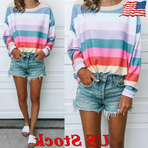 US Women's Striped Tops Long Sleeve Shirt Casual Blouse Loos