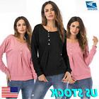 US Womens Solid Long Sleeve Casual Button Pullover Hoodies L