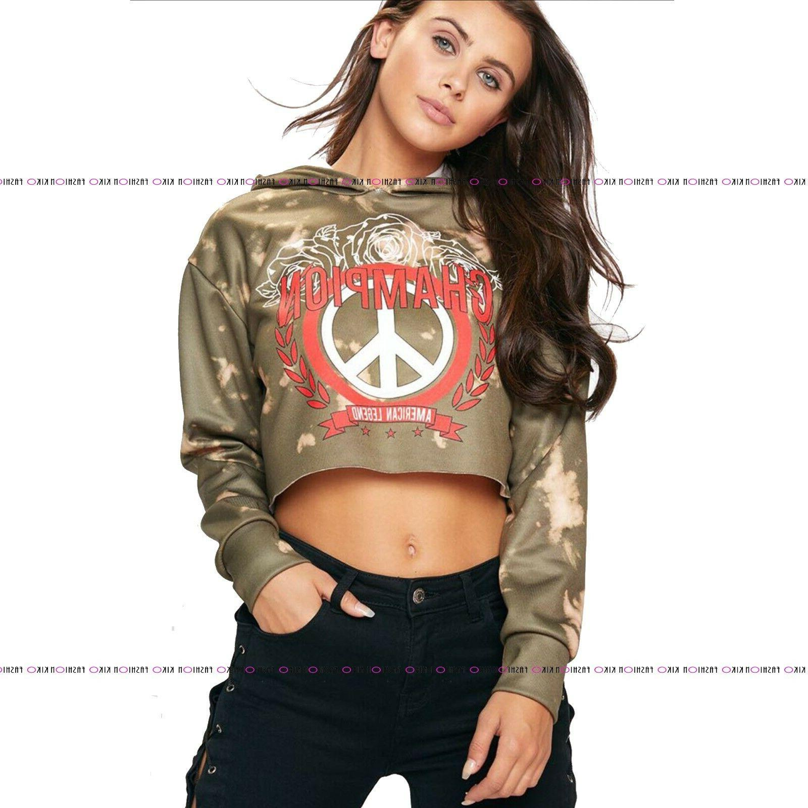 WOMENS LADIES ARMY CAMOUFLAGE HOODED STAR CHAMPION CROP TOP