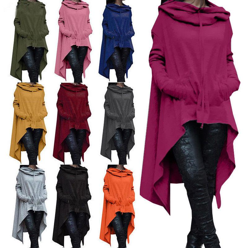 Women Hoodie Dress Long Hooded Tops Casual Sweatshirt Sweate