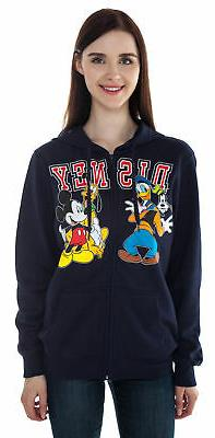 Women Mickey Mouse & Friends Zip Hoodie Sweatshirt Blue