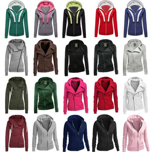 Women Plain Zip Hoodie Sweatshirt Hooded Coat Jacket Jumper