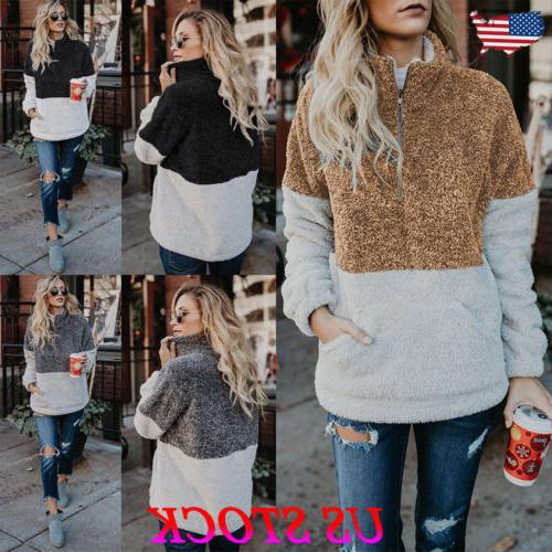 Women Warm Hoodie Jumper Zip Up Sweater Casual Long Sleeve S