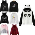 Womens Cat Ear Panda Hoodie Sweatshirt Hooded Pullover Tops