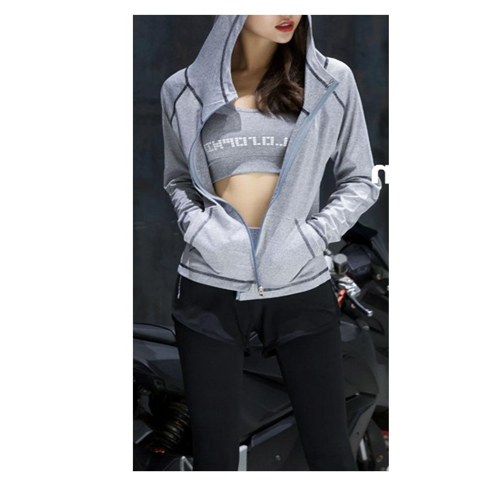 Womens Fitness Athletic Workout Sport Jacket Zip Yoga GYM Ho