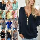 Womens Jumpers Pullover Tops Blouse Ladies V-Neck Long Sleev