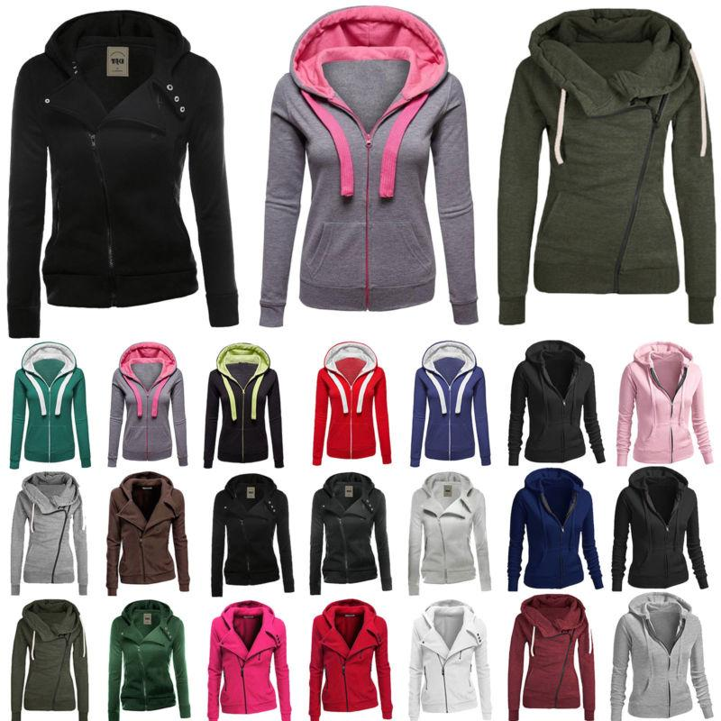 Winter Plain Zip Up Fleece Hoodies Hoody Women Sweatshirt Co