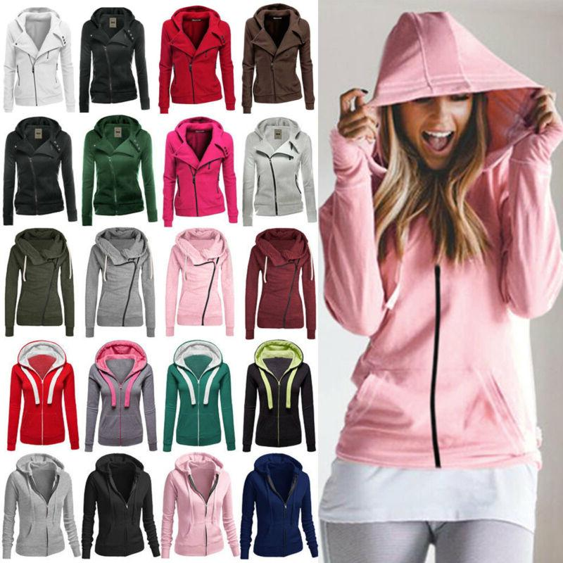 Winter Plain Zip Fleece Women Coat Top Hoodies 4-14