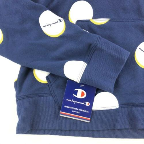 Champion Authentic Medium Blue All Big Dots Pullover Hoodie