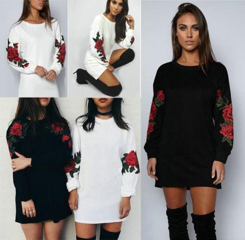 Women Lady Rose Long Sleeve Hoodie Sweatshirt Jumper Sweater