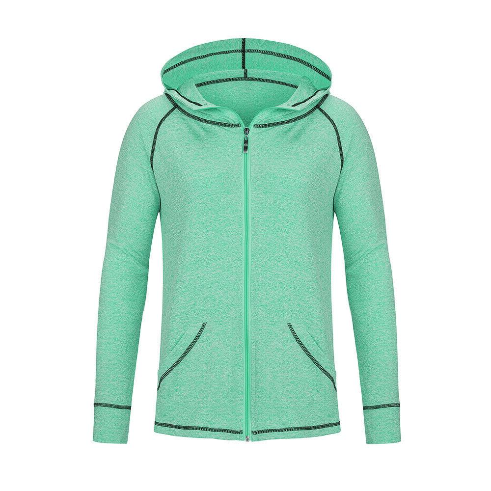 Womens Yoga Athletic Workout Sport Jacket Zip Solid GYM Hood