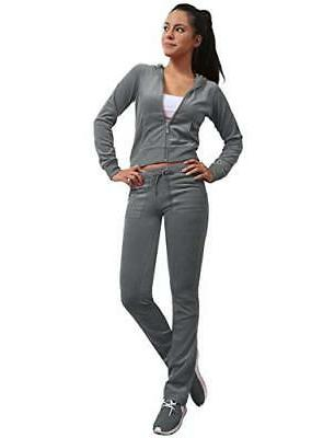 J. LOVNY Women's Active Casaul Velour Hoodie and Sweatpants