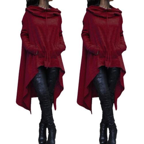 Long Fleece Loose Tunic Top Pullover Hooded Oversized