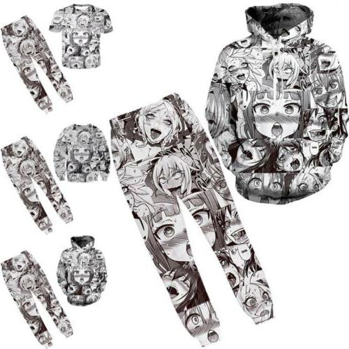 Men Fashion Ahegao Funny Print Pullover Cool Jacket New