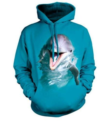 New Fashion Women/Men's 3D Print Lovely Dolphin Casual Hoodi