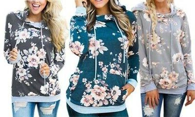 NEW Women's Floral Hoodie with Drawstrings - Dark Gray - Siz